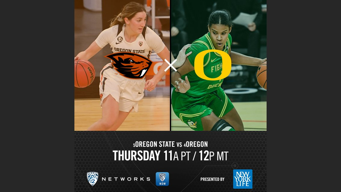 The rivalry is REAL. The 2021 #Pac12WBB Tournament Day 2 starts soon!  🏀: @BeaverWBB vs. @OregonWBB ⏰: 11a PT | 12p MT 📺: Pac-12 Network 📱:   #BackThePac | @NewYorkLife