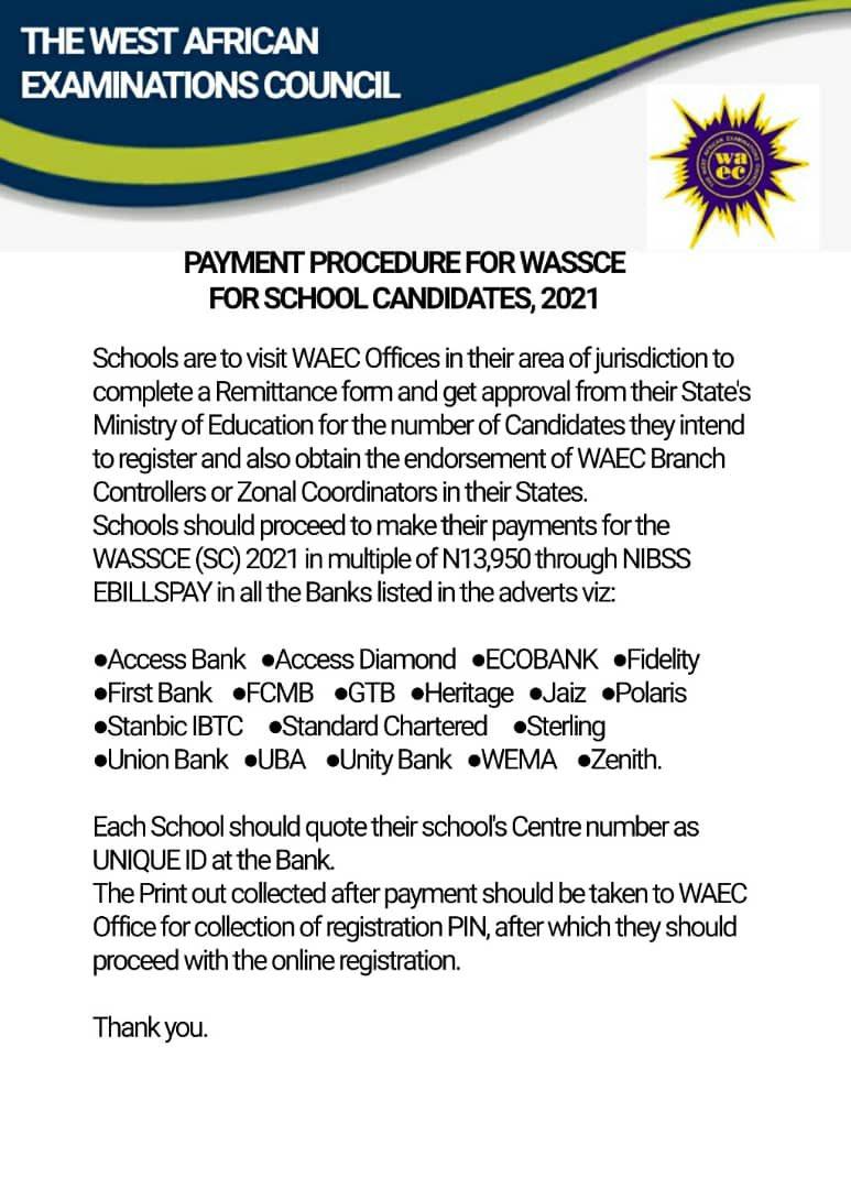 2021 WASSCE Registration Procedure