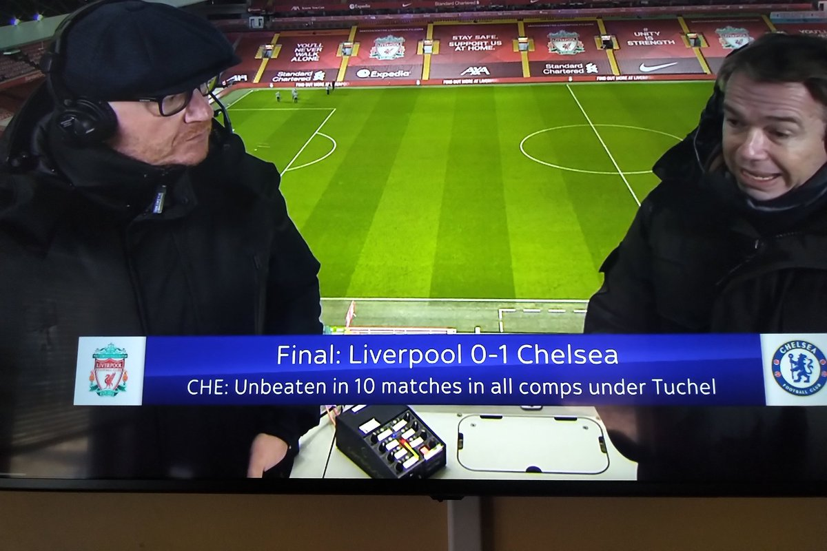 A few of my favorite things all in a single photo.   A BIG time  @ChelseaFC  win #LIVCHE and #Dante w/ an Inferno box front an center in the announcers box from @GlensoundLtd @Audinate