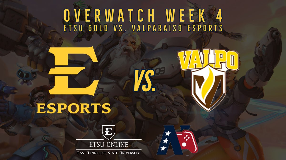 Overwatch Week 4! The ETSU Gold team is back in competition today as we face off against Valparaiso Esports! The matches begin tonight at 6:30 P.M. EST. Tune in early to our Twitch stream for the pregame report starting at 6:15P.M.   #GoBucs
