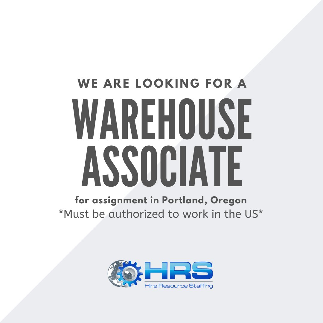 We are hiring a Warehouse Associate for an assignment in Portland, Oregon, to apply and for more information please visit the following link:  #WarehouseAssociate #WarehouseJobs #Warehouse #Portland #Oregon #PortlandJobs #OregonJobs #employment