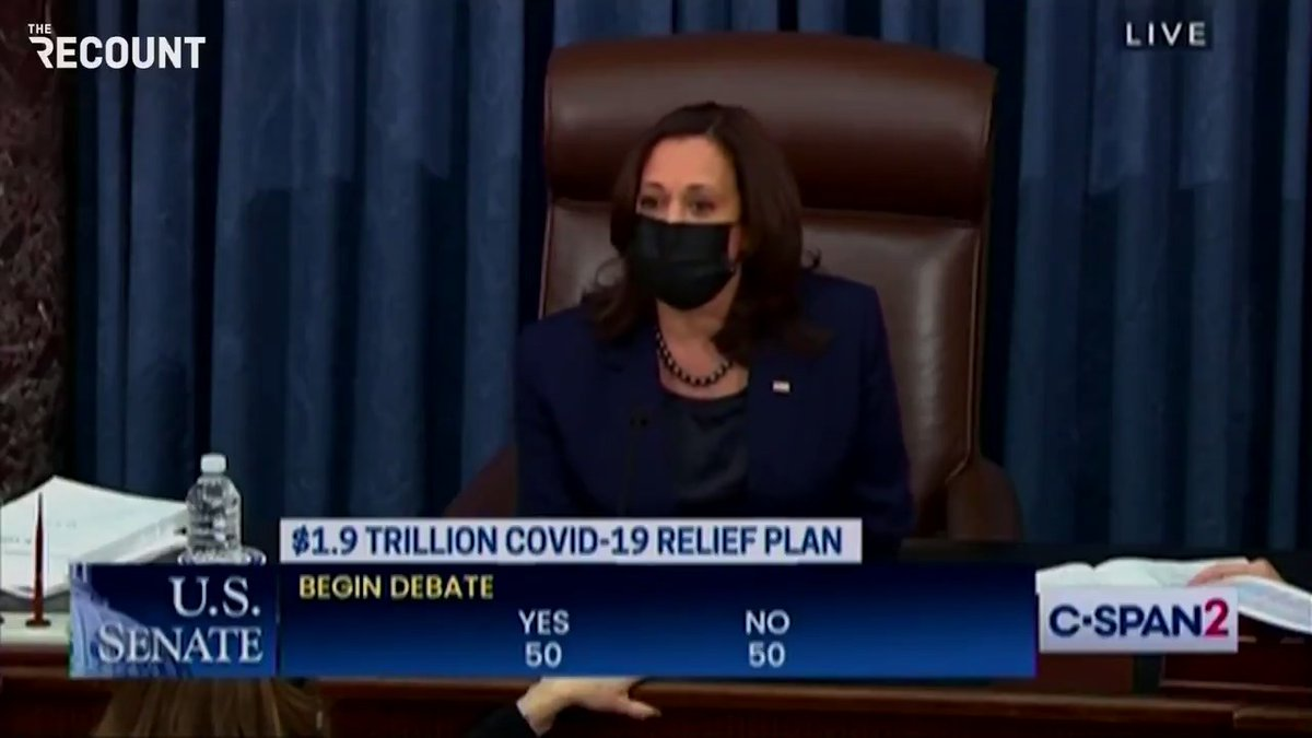 @kylegriffin1 VP Kamala Harris just broke a 50-50 tie in the Senate to proceed on the COVID relief bill.