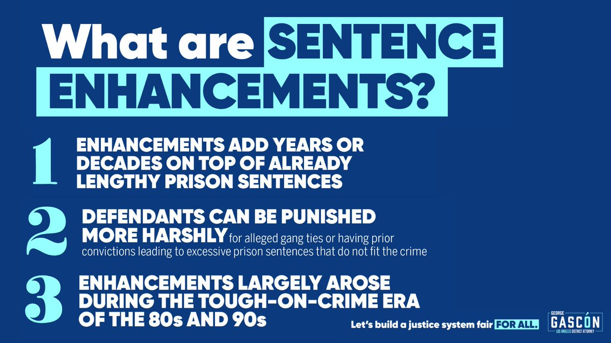 As Los Angeles District Attorney, I have banned the use of most enhancements. Sentence enhancements have NEVER been shown to enhance public safety. However, excessive sentences have been shown to increase recidivism, leading to more victims of crime in the future. (1/)