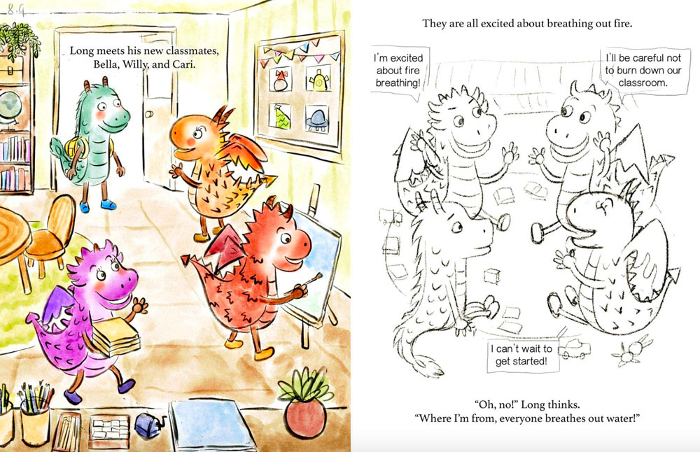 LONG AND THE DRAGON SCHOOL: Long, a Chinese dragon's excitement for school flames out when he discovers that he's the only one who can't breathe fire. He practices hard every day, not knowing he has a hidden talent waiting to be discovered. #PitMad #OWN #POC