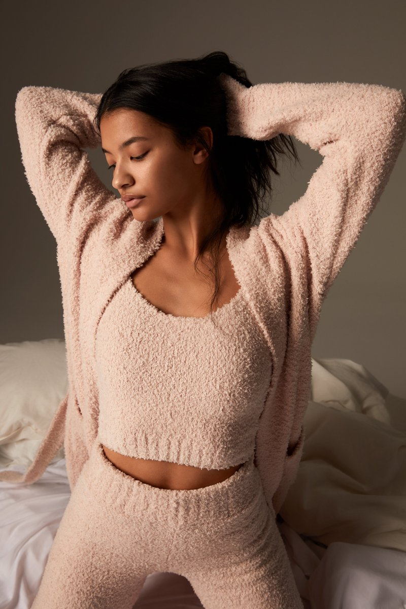 The Cozy Knit Tank, Cozy Knit Pant, and Cozy Knit Robe in Dusk — restocking in sizes XXS - 5X on Tuesday, March 9 at 12PM ET.  Join the waitlist for early access to shop:
