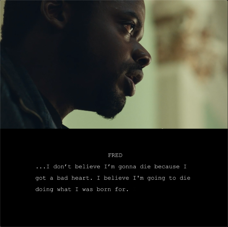 An excerpt from #JudasAndTheBlackMessiah. The powerful story by Shaka King, @will_berson, @lucasbros is now nominated for Best Original Screenplay for this year's #WGAAwards.