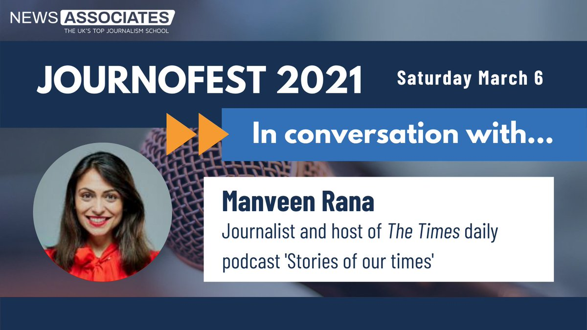 Joining our fantastic lineup of #JournoFest 2021 guest speakers is @ManveenRana, journalist and host of @thetimes daily podcast Stories of our times 🎉