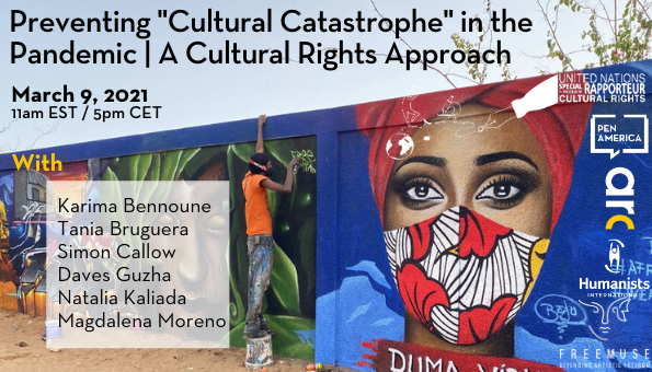 On March 9 at 11am EST, join ARC, @UNSRCulture, and a distinguished group of cultural experts to discuss the impact of the #COVID19 pandemic on #culturalrights and ways we can move forward in the midst of a global health crisis. Register here: