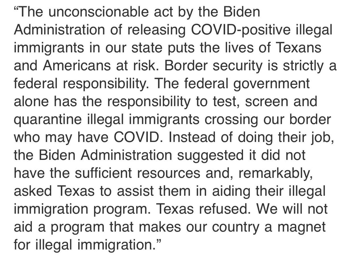 My statement about the Biden administration assimilating Covid positive illegal immigrants in states across the country
