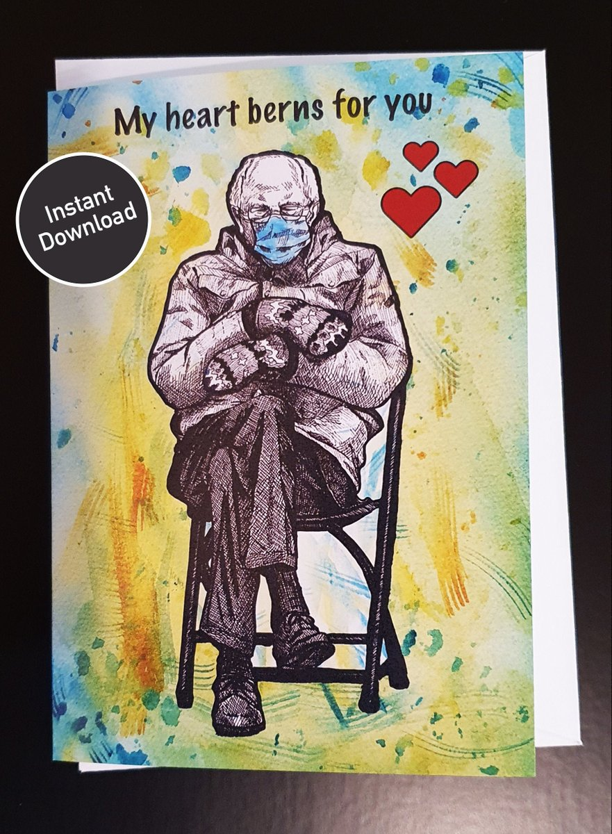 Bernie Sanders meme printable Love card   mittens   Bernie chair   Instant download   Valentines   Last minute   Meme Cards   Memes  #LineArt #Etsy #art #Artwork #giftIdea #PopArt #BernieMittens