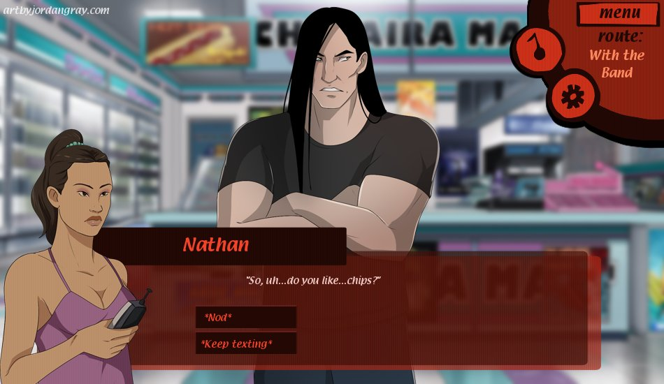 figured i might as well post my fake #Metalocalypse dating sim screencaps. (character art and ui by me, backgrounds from the show). (1/5) #ArtistOnTwitter #adultswim #fanart #DigitalArtist