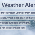 Image for the Tweet beginning: Cold Weather Alert:  Cold