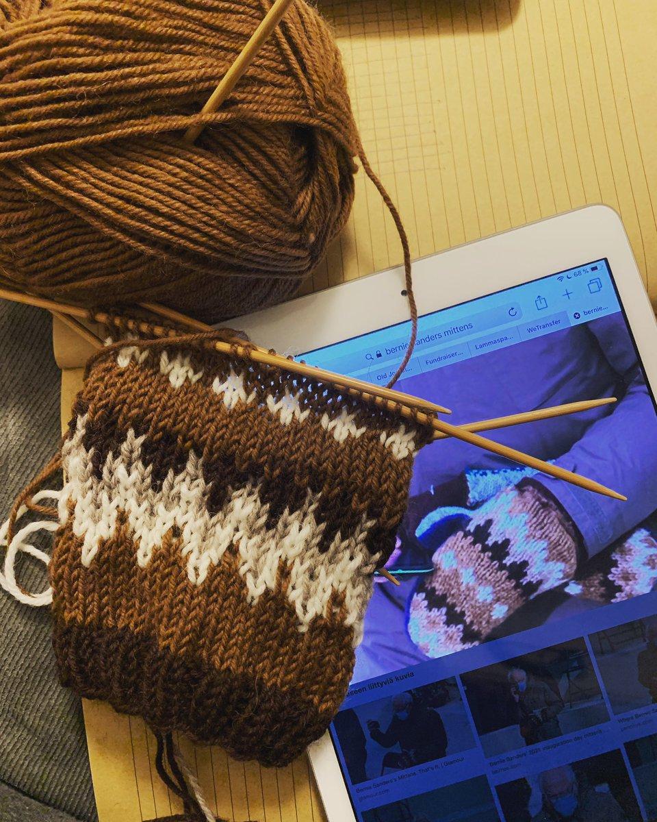 Knitting myself some Bernie inspired socks 😊😊😊 #berniesmittens