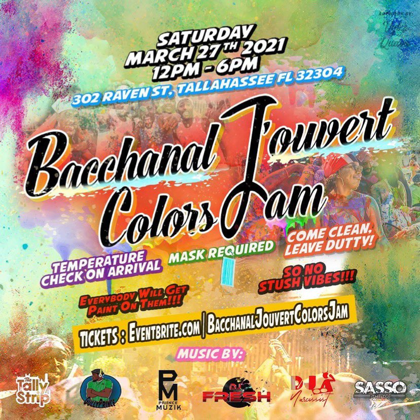 Get your tickets now at   THE #1 CARIBBEAN PAINT PARTY IS HERE‼️   JOIN US MARCH 27TH FOR  BACCHANAL JOUVERT COLOR JAM  #jouvert #bacchanal #colors #stink #dutty #thursdayvibes #paint #powder #soca #florida #tallahassee #westindian #caribbean #carnival