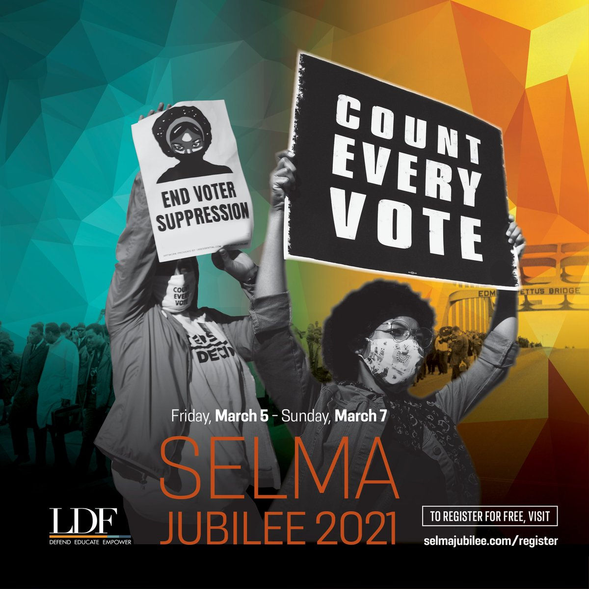 On March 6, join @Sifill_LDF and @NAACP_LDF at the annual #SelmaJubilee to discuss the power of the Black voter, the 2020 election, and how we can defeat voter suppression moving forward. Learn more and register to attend this free virtual event: . #BeLOVE