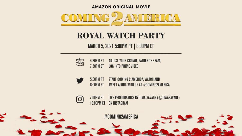 You've had more than 30 years to prepare for Coming 2 America. Don't show up to @ZamundaRoyals' palace empty-handed — bring your outfits, drinks, snacks, sweets and tweets and let's go up!   Check into @PrimeVideo tomorrow at 5PM PT/ 8PM ET and use #Coming2America for entry 👑