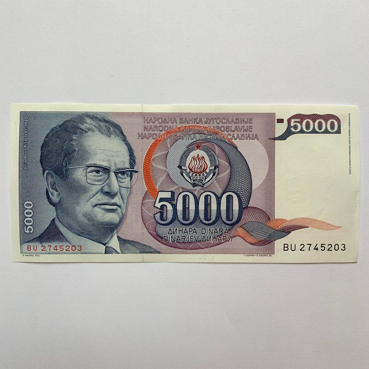 my #etsy shop: Josip Broz Tito Yugoslavia 5000 Dinara Banknote. Serbia, Macedonia, Bosnia, Montenegro, Kosovo, Slovenia, Croatia Currency, Billetes. Notes.  #banknote #billetes #currency #bills #pesos #dollars #coins #collectibles #vintage