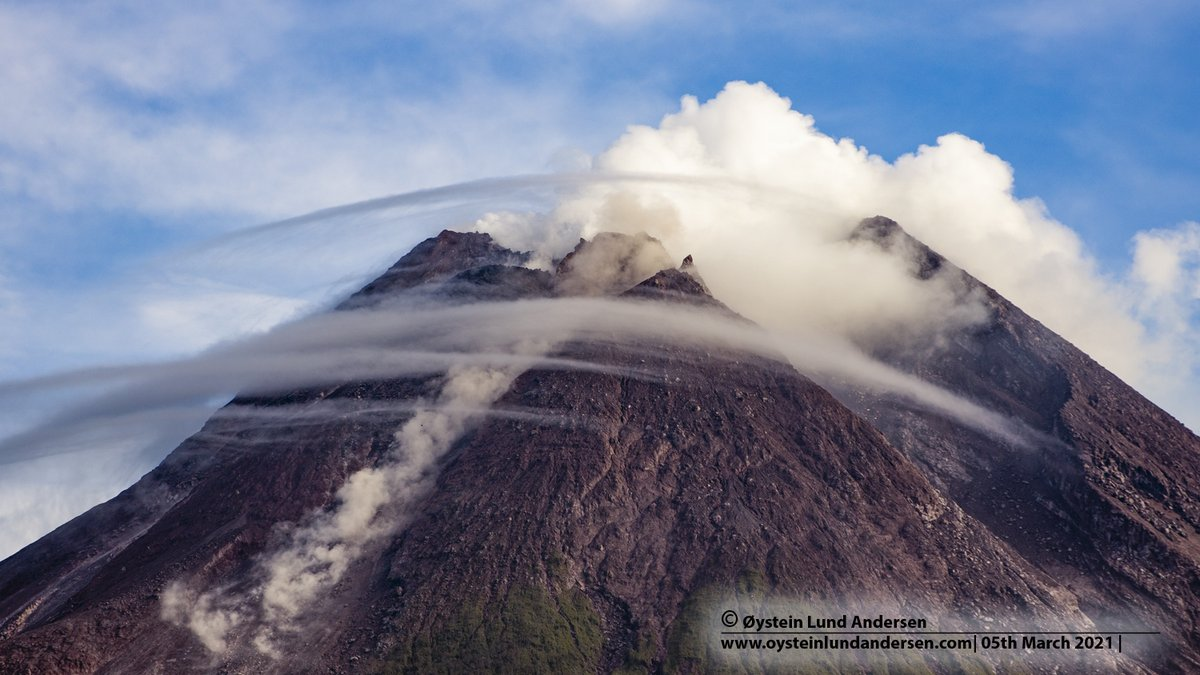 Merapi volcano today, frequent rockfall from the lava dome. Pictures captured from outside the 5km restriction zone.