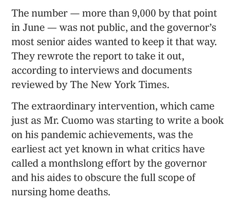 All due respect to @nytimes for their great reporting on Cuomo aides altering a June report on nursing home deaths, but this isn't Cuomo's earliest known act to obscure the data.  @DailyCaller reported on May 15 that Cuomo admin was deliberately undercounting nursing home deaths