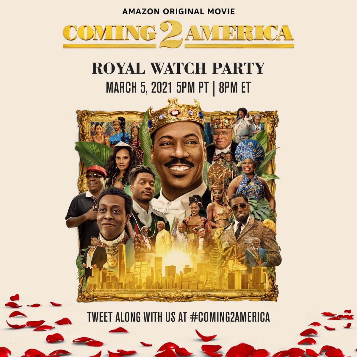 t's finally here 🙌  Coming 2 America is on @primevideo and tonight we're watching as a Royal Family! Use #Coming2America and tweet along as you watch starting at 5pm PT/8pm ET.