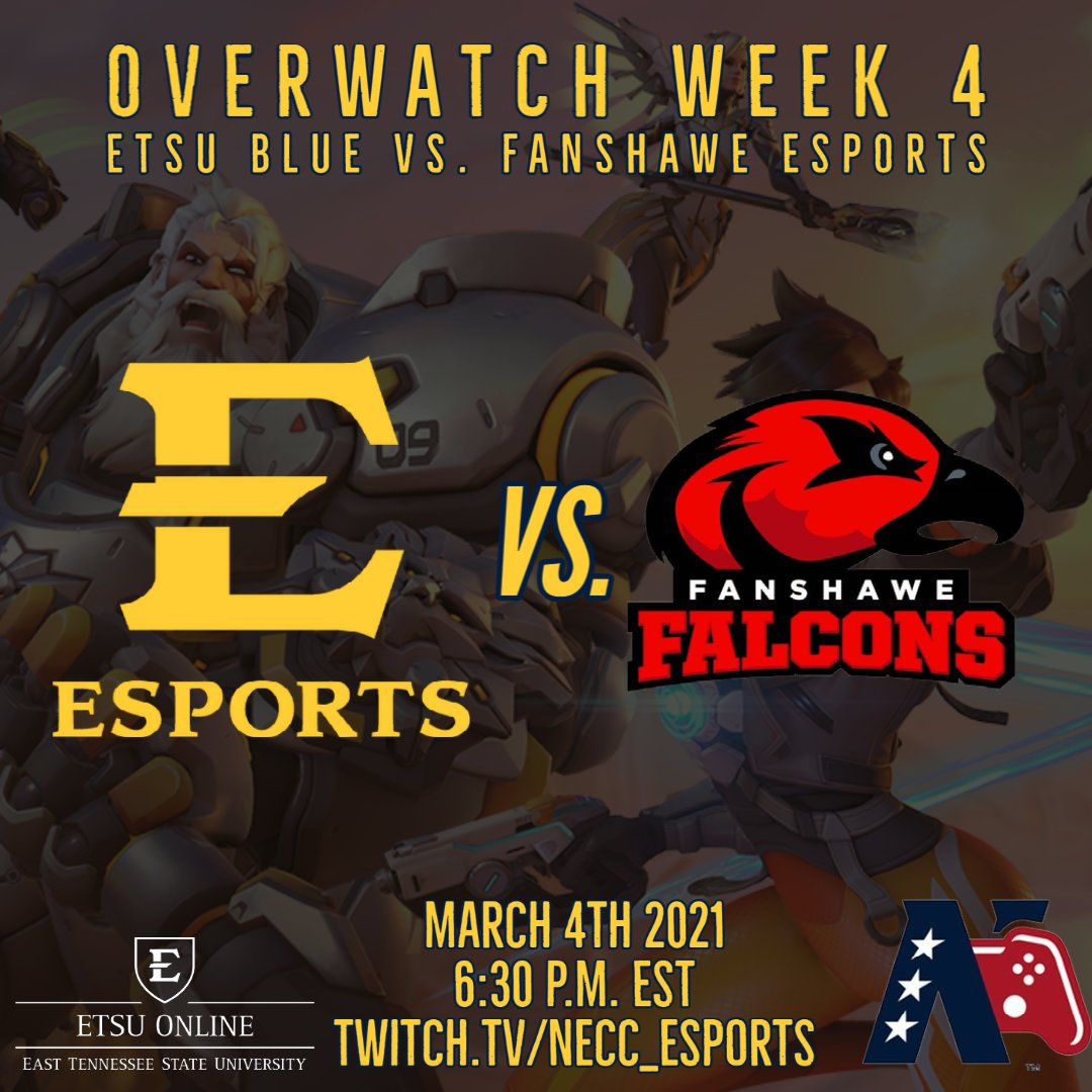 More Overwatch in Week 4! ETSU Blue is the NECC featured match today as we face off against Fanshawe Esports! The competition starts tonight at 6:30 P.M. EST. Cheer on the Bucs live on the NECC stream at  #GoBucs