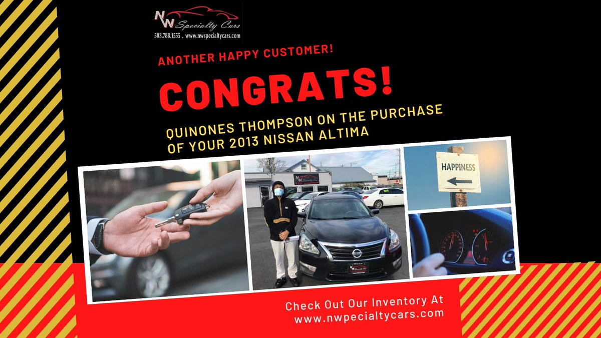 Congrats Quinones Thompson on the purchase of your 2013 Nissan Altima! #HappyCarOwner #NewUsedCar #PreOwned #NWSpecialtyCars #PDX #Portland #CarDealer #PDXCarDealer #NewCarFeels #NewCarLove #PortlandCarDealer #CarsForSale #Car #Cars #DrivenToGetYouDriving #WeLoveOurCustomers 🚘