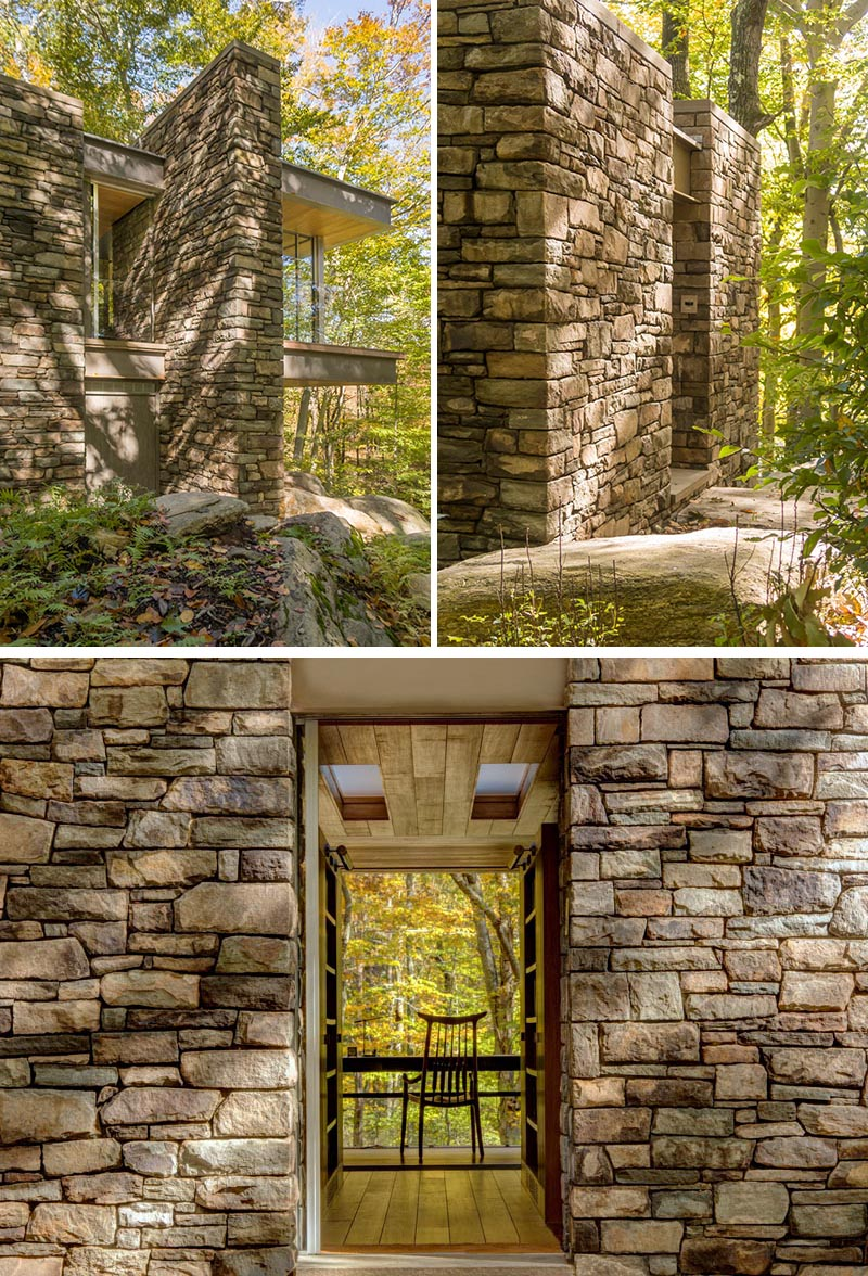 Rock exteriors on this home make it blend in with the surrounding forest. #homedesign #architecture