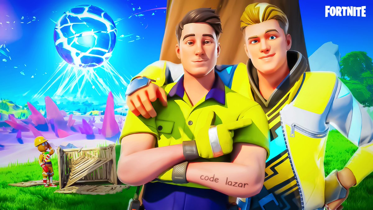 """Massive congrats to @Lazarbeam on his Fortnite skin release today!   Remember to use code """"LAZAR"""" when purchasing his skin... I mean he literally has it tattooed on him https://t.co/XIpzy64hCy"""