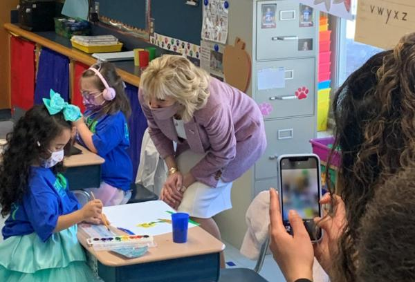 .@FLOTUS Jill Biden and new Secretary of Education @teachcardona were in #Connecticut to showcase how Cardona's home district opened its schools for students to learn in-person and full-time during the #coronavirus pandemic.