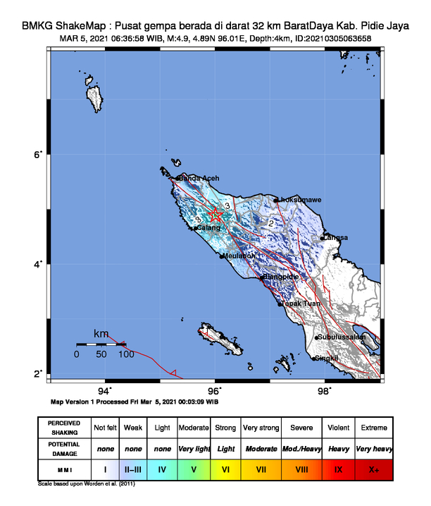 Pusat Gempa Mag 4,9 di Pidie Aceh, Jumat (5/3/2021) pagi