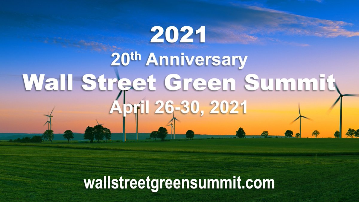Register to attend the 2021 #WallStreetGreenSummit — covering solutions to #climatechange at the nexus of finance and technology!   Click here.