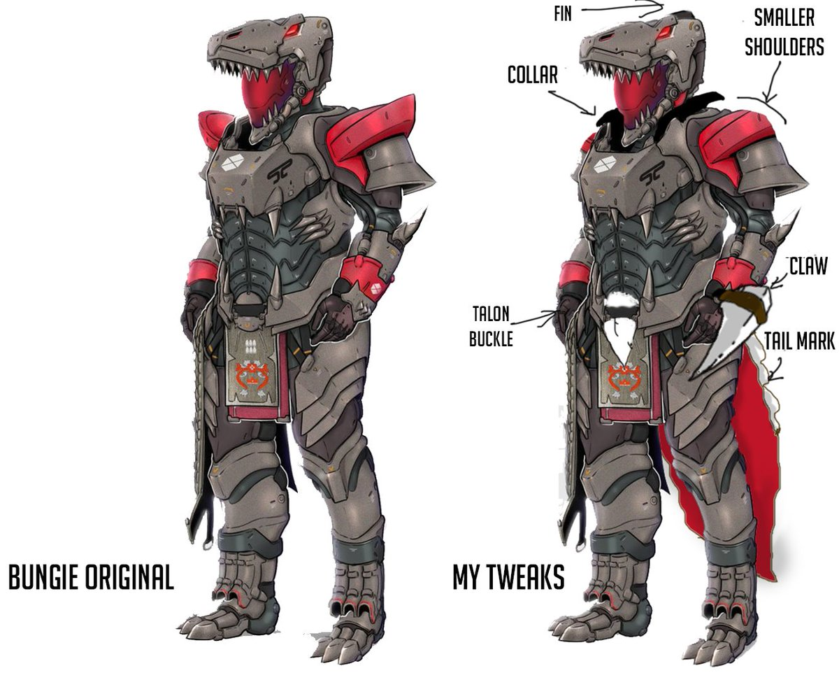 @Bungie My tweaks  ▪️ Claw wrist attachment ▪️ Smaller shoulders (we keep asking for less rain catchers, please listen) ▪️ Long pointy mark with plating (T-Rex Tail) ▪️ Slight peak on helm so it isn't too plain and flat on the top ▪️ Casual shirt collar for some flair  #teamdino @Bungie