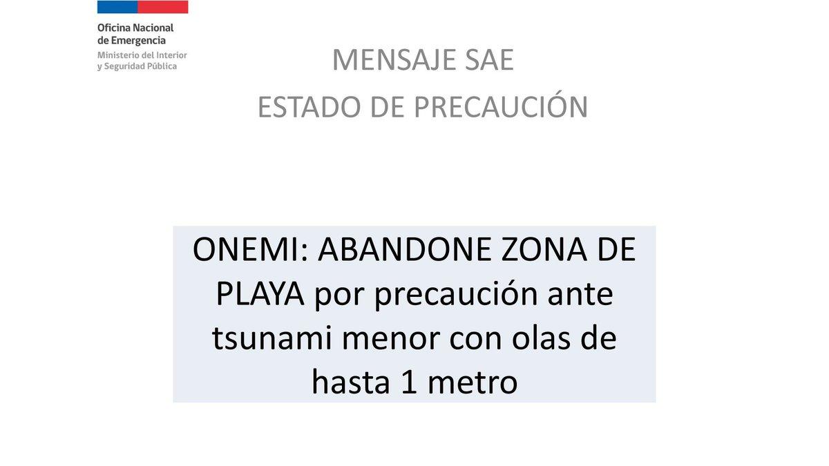 🔴⚠️ A las 22 horas llegará a los teléfonos celulares de habitantes de zonas costeras del país, entre ellos de las comunas de #Pichilemu, #Paredones, #Litueche y #Navidad, un mensaje del sistema SAE de ONEMI respecto a la alerta preventiva de tsunami.