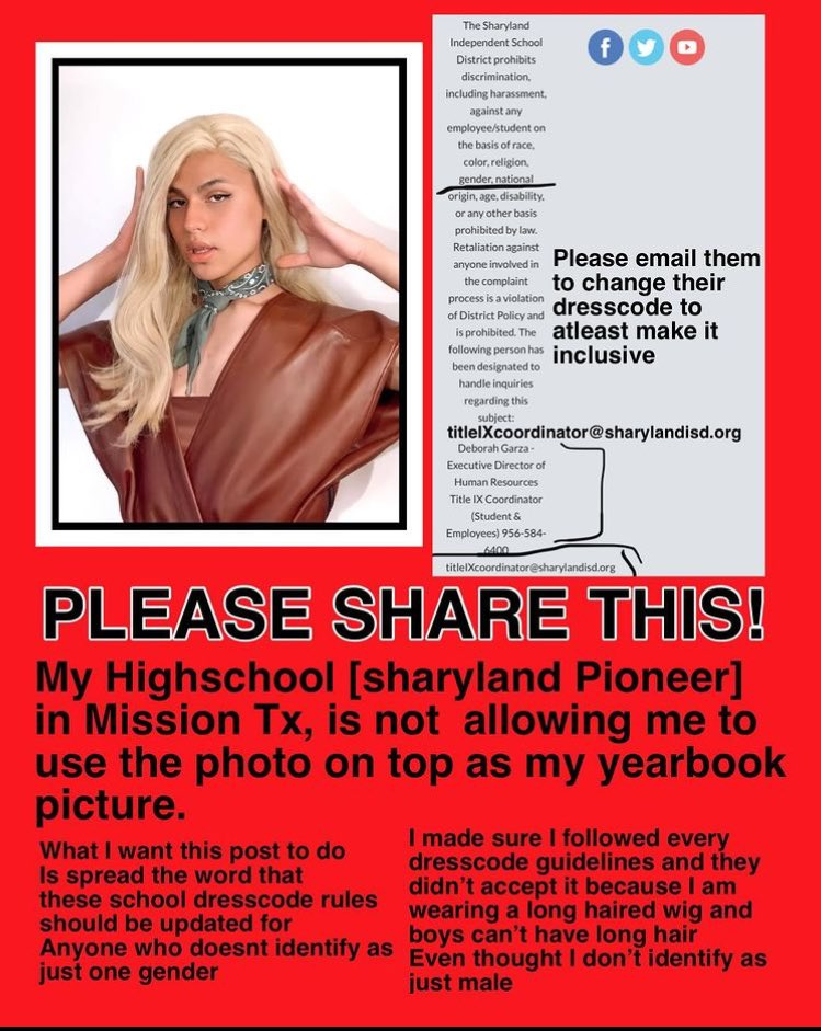 (Please share this to spread the news on what's happening) So this was supposed to be posted at the end of the school year and this was supposed to be my yearbook picture but my school (sharyland pioneer high school) follow the rest information...➡️