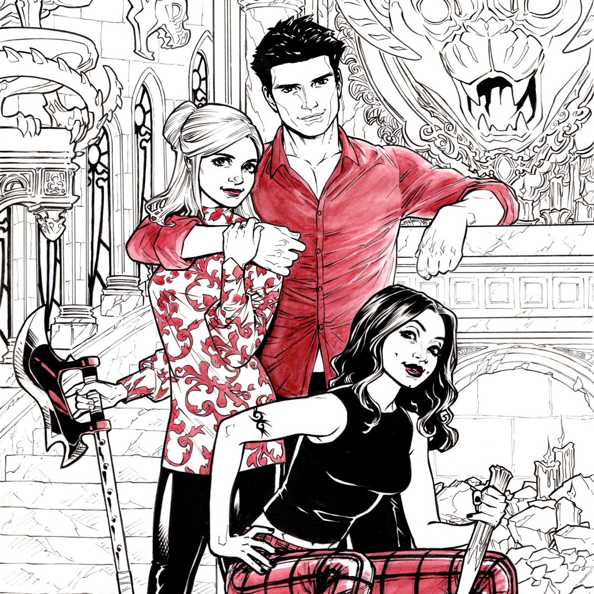 Buffy+Angel+Faith commission - I wanted to do something like that Entertainment Weekly reunion photo shoot where the whole cast just hung out in front of gothic backdrops lookin HAWT
