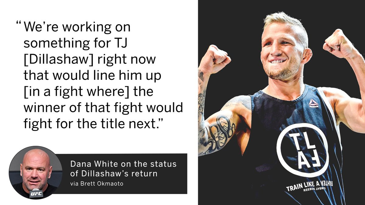 Dana White says UFC is working on a bantamweight No. 1 contender fight involving TJ Dillashaw.  (via @bokamotoESPN)