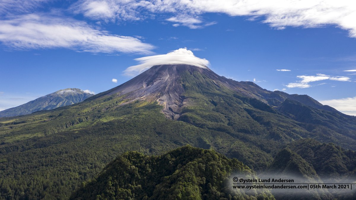 Merapi volcano with a lenticular cloud on the summit, this morning 5th March.