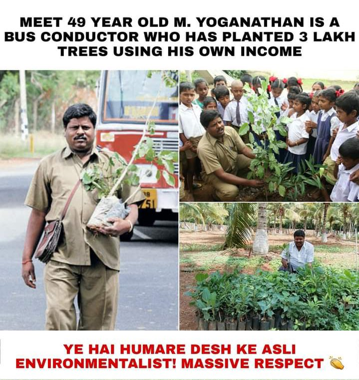 Where there is a will there is always a way. Kudos to this gentleman Sri M. Yoganathan, who not only took time but also part of his meagre income to plant staggering 3 lakh saplings. Fantastic efforts. 🙏  #Appreciate #GreenIndiaChallenge 🌱🌱🌱