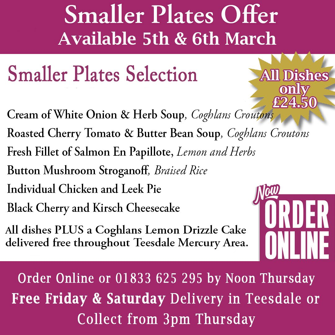 Dine at home options for this weekend available to collect #fridaymorning #SaturdayMorning from our deli counter @BarnardNews @NewsBishop @ThisisDurham