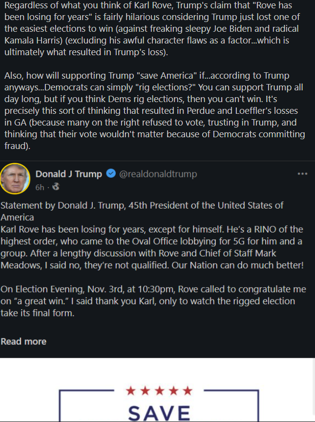 Rove is trending because of this statement Trump put out about Karl Rove.  I don't analyze the merits of Trump's claim, but I do analyze some context of the claim. In short, Trump seems to be projecting. I mean...he did just lose in 2020. #Karl #KarlRove #Rove #Trump #Politics