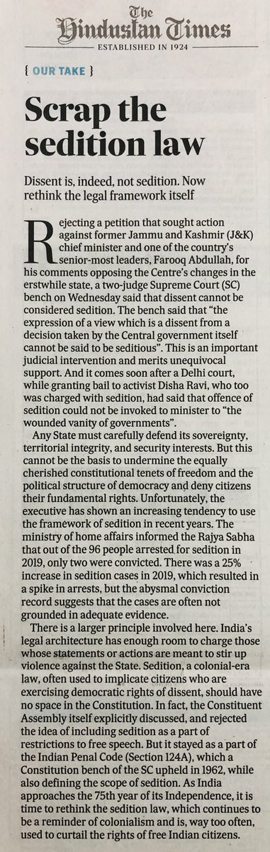 Scrap the sedition law. Dissent is, indeed, not sedition! #hindustantimes @HindustanTimes  #Sedition