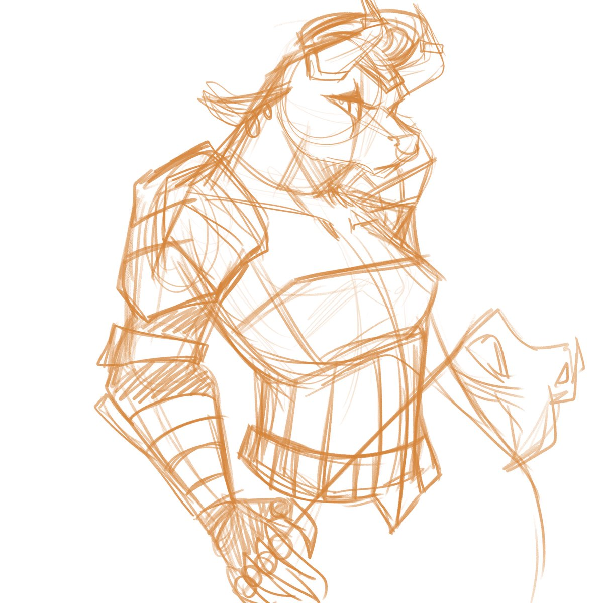 My #interpvscanon sketch of a fem minotaur from the legends of runeterra new expansion