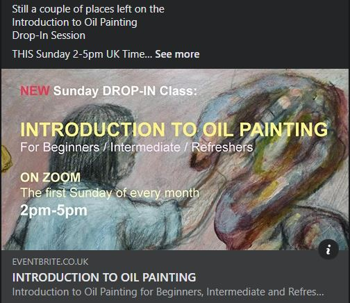 Still a couple of places left ONLINE Introduction to Oil Painting  Drop-In Session  THIS Sunday 2-5pm  #introduction to #oilpainting #artclass #art #paintingclass #painting #sundayvibes