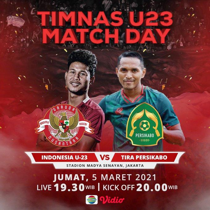 Jadwal Siaran Langsung Indosiar untuk Timnas U23 Indonesia vs Tira Persikabo