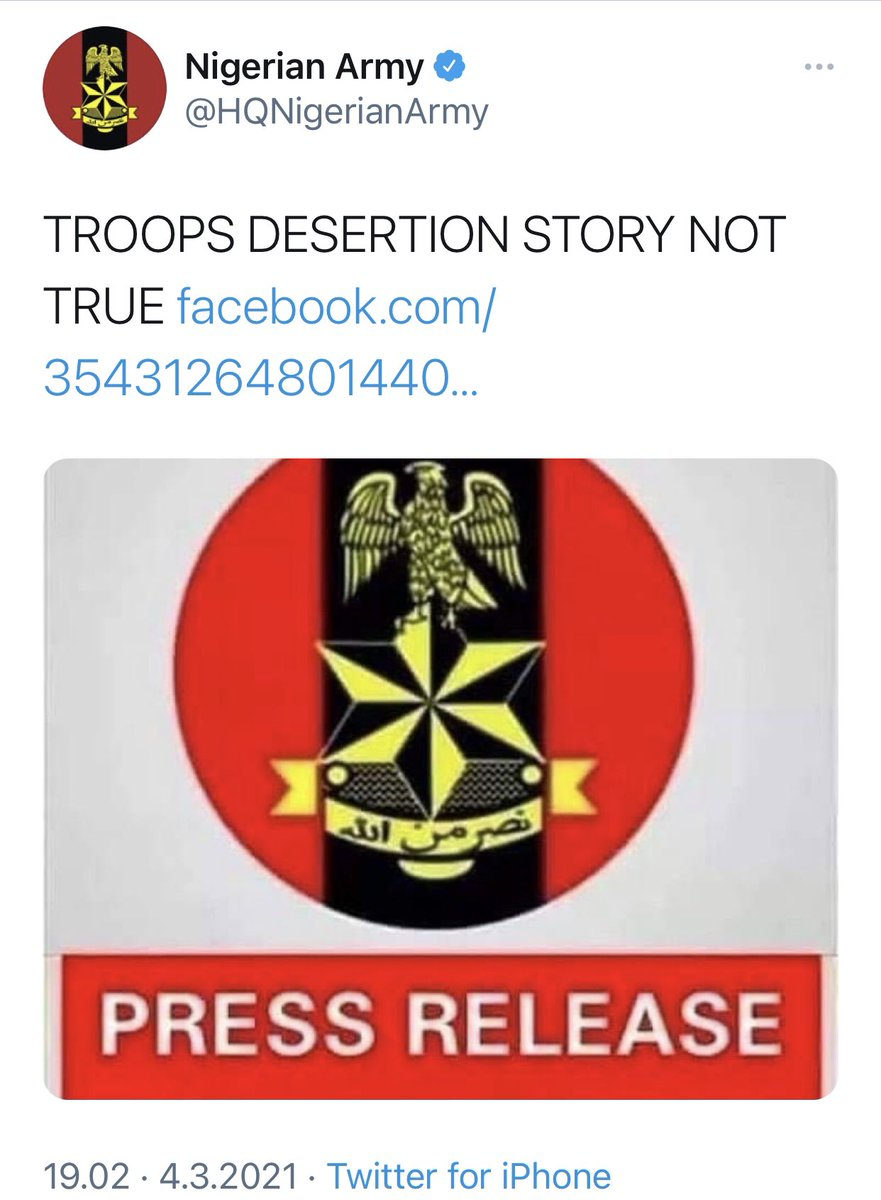 The press release from @HQNigerianArmy that troops desertion story not true is FALSE! We have evidence of not just 100 men but about 300 soldiers desertion so far and we have evidence to show. The general public should disregard the military lies, they are only in narrative war.