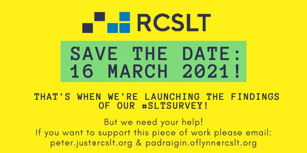 The #RCSLTPPA Team's #FridayFeeling is #excitement that there are now just 11 days to go until @RCSLT publishes the #SLTSurvey findings. Check back next week when we'll be sharing the report title with you.