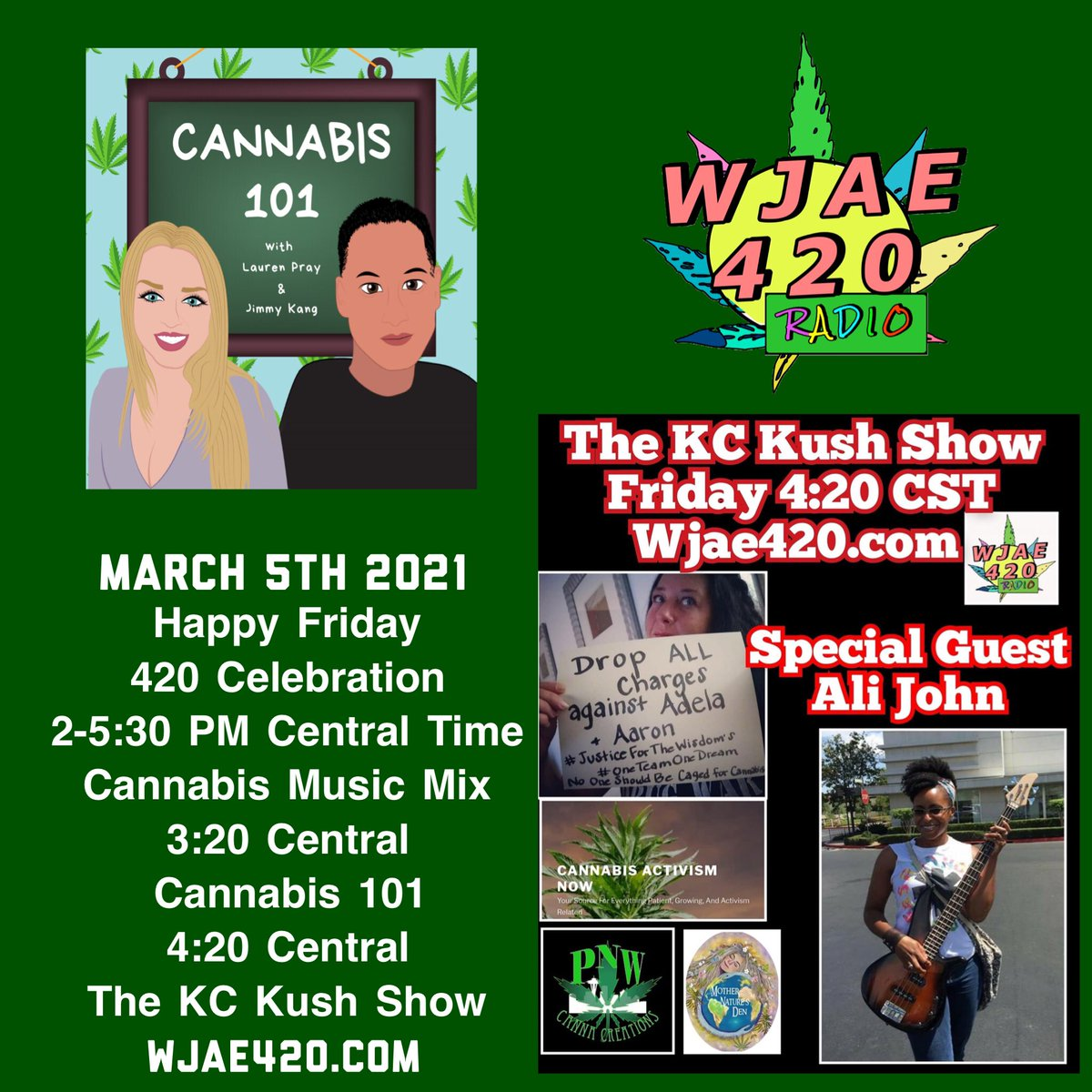 #Friday #CannabisCommunity #radio #wjae420 @itsKCKush @UnityRadioMA @angelaedgemusic @therealwendylo2