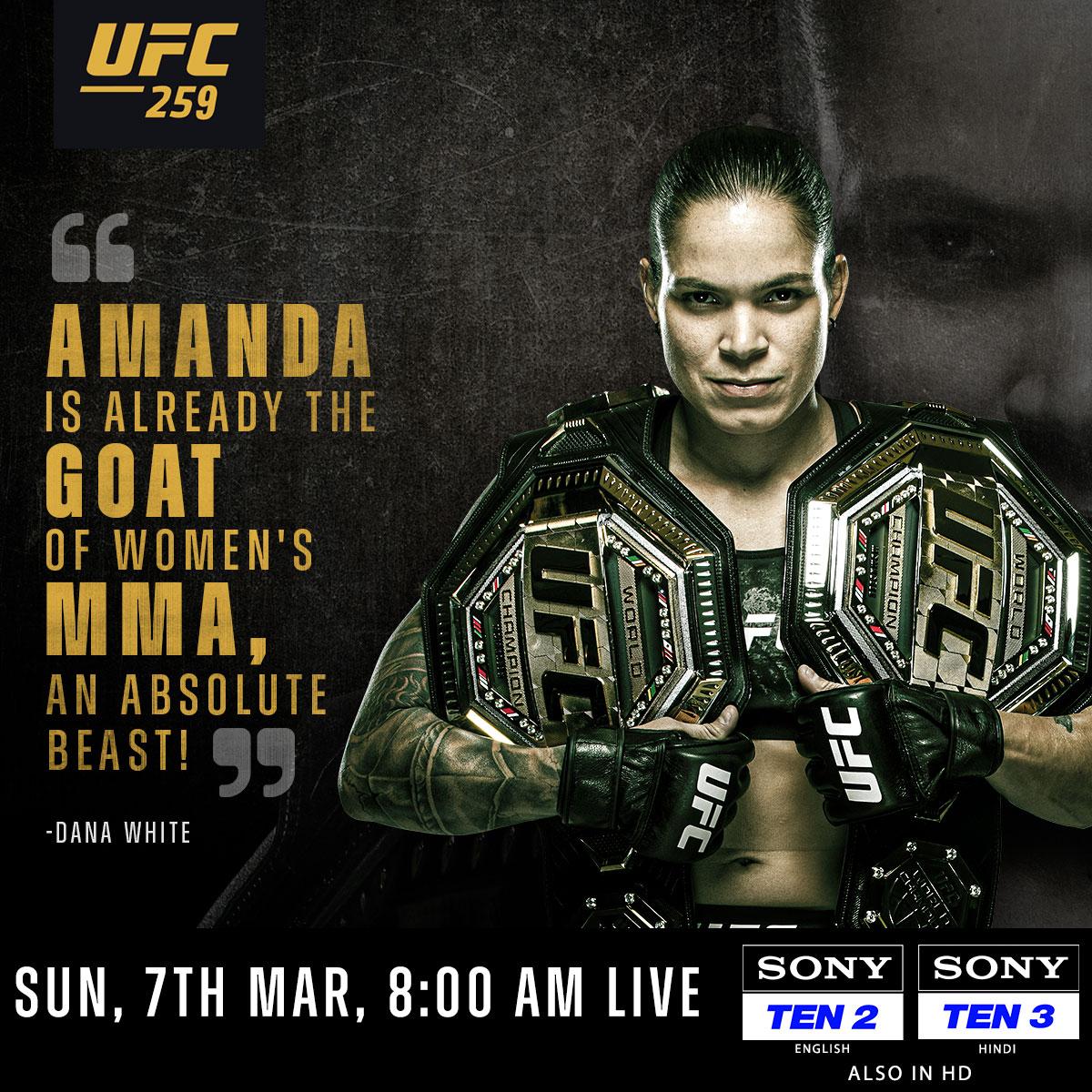 Is Amanda Nunes the GOAT 🐐 of w̶o̶m̶e̶n̶'̶s̶ MMA? 🤨  Watch the Brazilian in action against Megan Anderson at #UFC259 🤩💪🏻  📺 Sony TEN 2 (ENG) & Sony TEN 3 (HIN) 📅 SUN, 7th MAR ⌚ 8:00 AM  #SirfSonyPeDikhega #UFC #MMA #ChampionVsChampion #Nunes #Fight