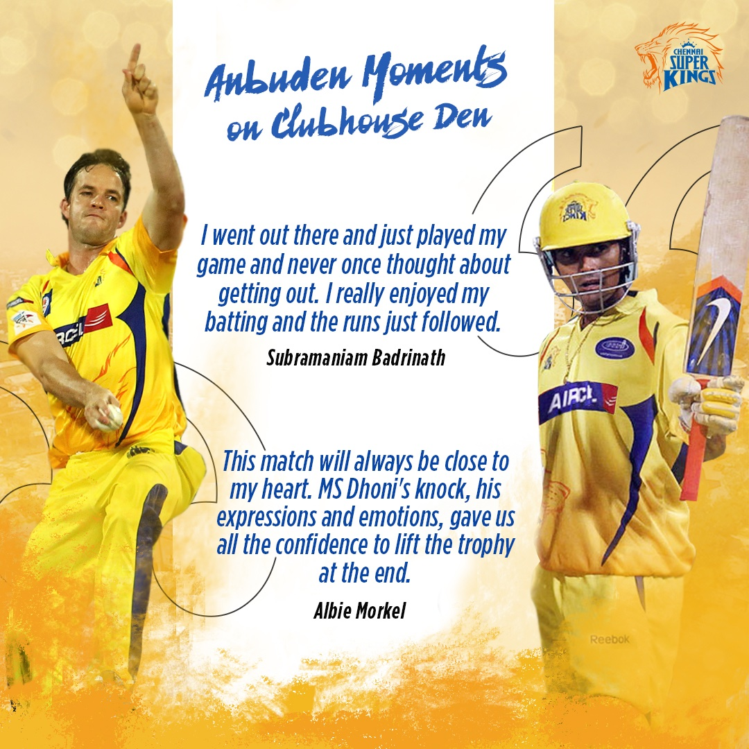 Namma Anbuden lions Badri and Morkel's yellovely memories from Dharamshala, reminiscing Thala's super knock out punch of 54* . #Yellove #WhistlePodu @s_badrinath @albiemorkel 🦁💛