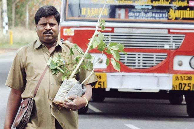 Marimuthu Yoganathan, a Bus Conductor Who has planted over 3 lakh trees in the last 30 yearsusing his own money.  Meet the 'Real Environmentalist' !!